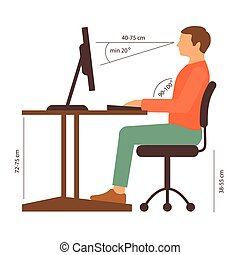 correct posture - correct back position, vector illustration...