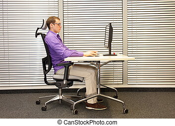 correct sitting position in office - correct sitting...