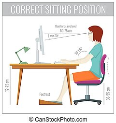 Correct spine sitting posture at computer health prevention vector concept