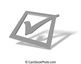 correct-tick - 3D tick rendered illustration against white...