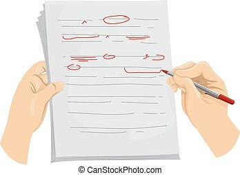 correcties, handen, kopie, redacteur, mark