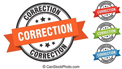 correction stamp. round band sign set. label - correction ...