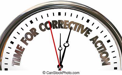 correctivo, reloj, ilustración, palabras, tiempo, acción, 3d