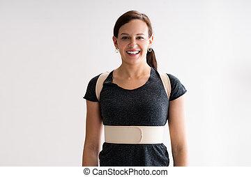 corrector, decompression, llevando, o, espalda, cinturón, postura, fisioterapia