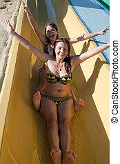 corrediça água, aquapark, natação, meninas, piscina