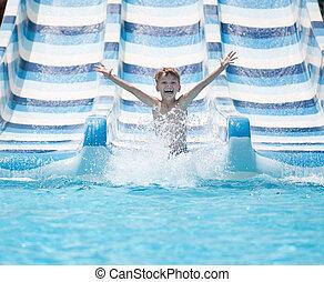 corrediça água, desça, menino, piscina