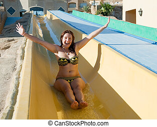 corrediça água, girs, piscina, natação