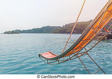 corrediça água, ligado, bote, em, a, mar
