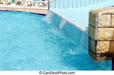 corrediça água, piscina, crianças
