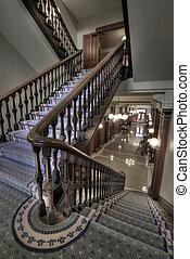 corredor, antigas, escadaria