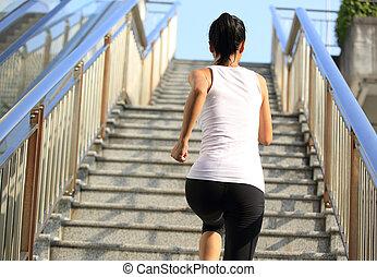 corredor, atleta, corriente, escaleras.