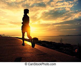 corredor, atleta, corriente, seaside.