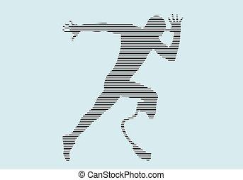 corredor, atleta, incapacidade, silueta, protético