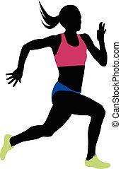 corredor, atleta, mulher, jovem