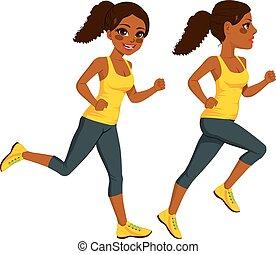 corredor, atleta, mulher