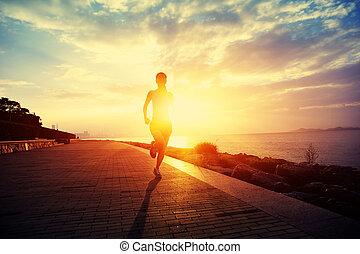 corredor, atleta, seaside., executando