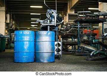corredor, azul, industrial, dois, barris