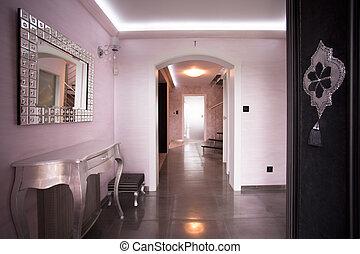 corredor, bege, luxo, residência
