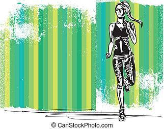 corredor, bosquejo, espalda, ilustración, vector, hembra, vista, maratón, front.