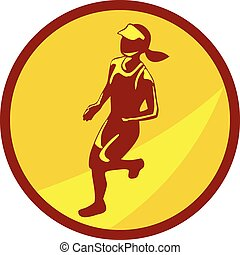 corredor, círculo, hembra, maratón, retro