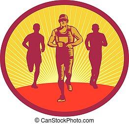 corredor, círculo, maratón, woodcut