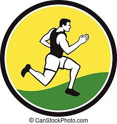 corredor, círculo, retro, maratón