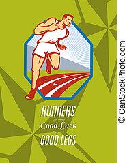 corredor, cartel, pista, carrera, retro, maratón