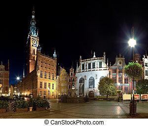 corredor cidade, à noite, em, gdansk