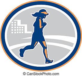 corredor, ciudad, hembra, maratón, retro