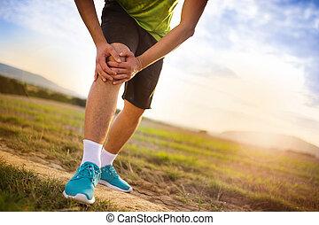 corredor, com, ferido, joelho