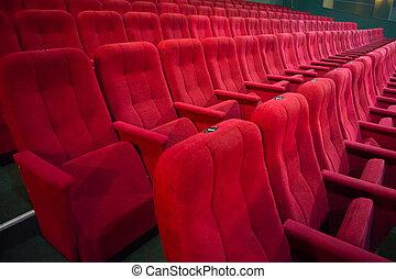 corredor, com, filas, de, vermelho, assentos