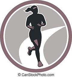 corredor, corra, hembra, maratón, retro