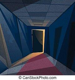 corredor, corredor, escritório, portas, luz, quarto escuro