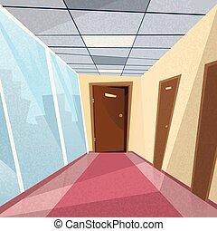 corredor, corredor, escritório, portas, sala