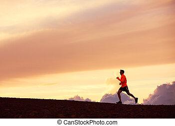 corredor, correr masculino, ocaso, silueta