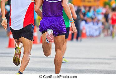 corredor, corriente, maratón