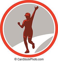 corredor, corriente, retro, hembra, círculo, maratón
