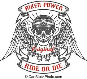 corredor, cranio, com, asas, e, dois, cruzado, pistons., biker, power., livrado