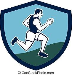corredor, cresta, retro, maratón