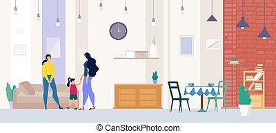 corredor de bienes raíces, plano, apartamento, actuación, ...