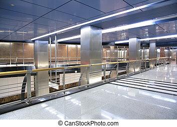 corredor, de, estação metrô