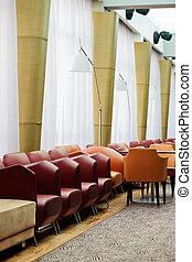 corredor, descanso, assentos