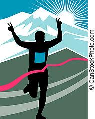corredor, destellar, victoria, maratón