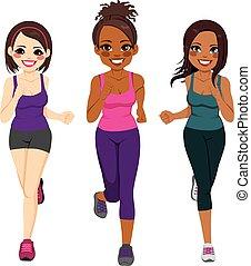 corredor, diferente, etnicidade, mulheres