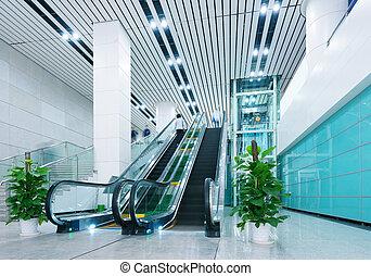 corredor, e, escadas rolantes