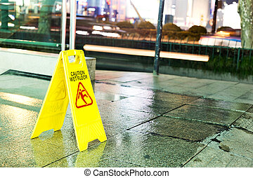 corredor, english., sinal, cautela, mopped, freshly