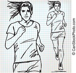 corredor, esboço, femininas, ilustração