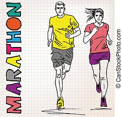 corredor, esboço, macho, femininas, ilustração