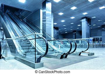 corredor, escada rolante