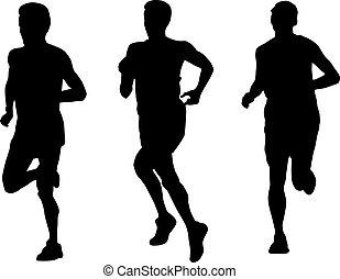 corredor, executando, silueta, maratona